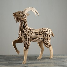 Custom Natural Driftwood Pieces Wooden Goat Home Decorative