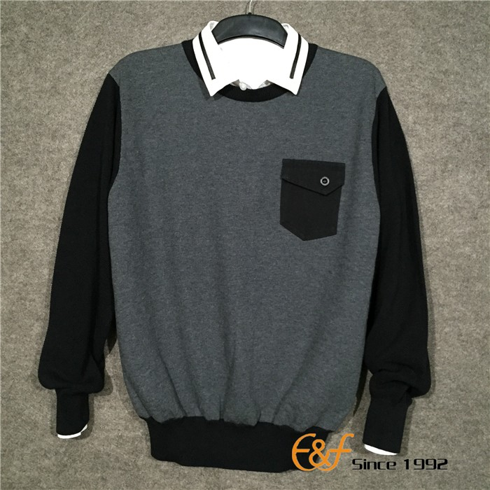 Hot Selling Men's Crew Neck 100% Cotton Sweater With Patch Pocket