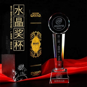 Wholesale top quality golden star thumb ball crystal trophy black crystal trophy base