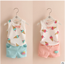 MS71130B Latest kids summer cute clothing sets kids ice cream printed vest and shorts