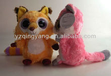colorful big eyes plush fox toys for children