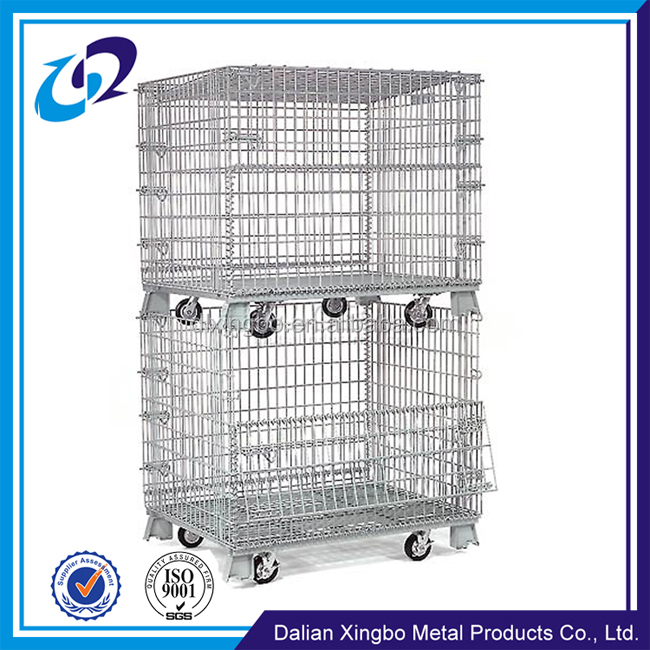 Foldable and stackable galvanized wire mesh warehouse storage container metal cage