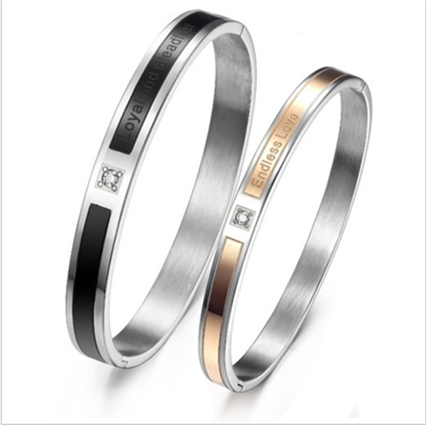 Yiwu Aceon Plated Pair Jewelry Stainless steel fahion endless love couple bangle