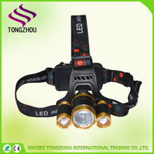 Bright Headlamp 3 Bulbs 4 Modes T6 LED with Rechargeable Batteries USB Cable and AC Charger for Camping