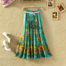 Hot New Plus Size Peacock Feather Fake Silk Elastic Waist Big Bottom Printed Bohemia <strong>Skirt</strong> Women Full Long Chiffon <strong>Skirt</strong>