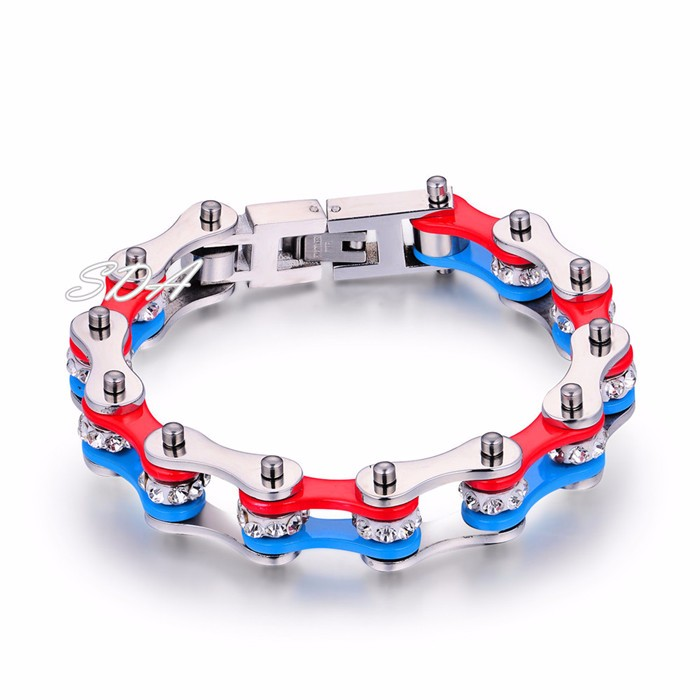New arrived 3 Color Women Motorcycle link bracelet jewelry Biker Chain Stainless Steel Bracelet top quality YM149