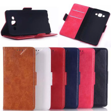 high quality oil wax leather flip cover case for samsung galaxy E5 E7 J5 J7