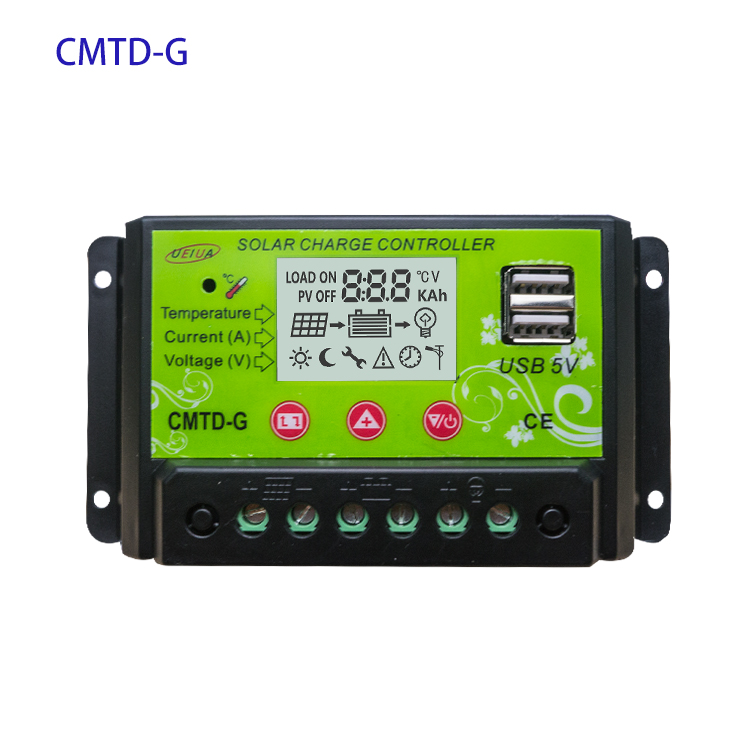 CMTD Dual USB 20A PWM Solar Charge Controller 12V/24V Auto Paremeter Adjustable LCD Solar Controller Regulator