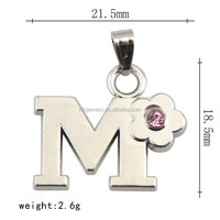 New Design Lead Free Nickle Free Custom Metal Initial Letter M Pendant Link Chian Necklace With Pink Crystal