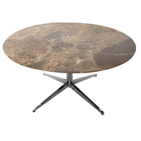 Natural Brown Marble Stone Round Kitchen Table Tops