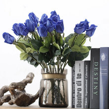 real touch artificial royal blue silk roses for sale