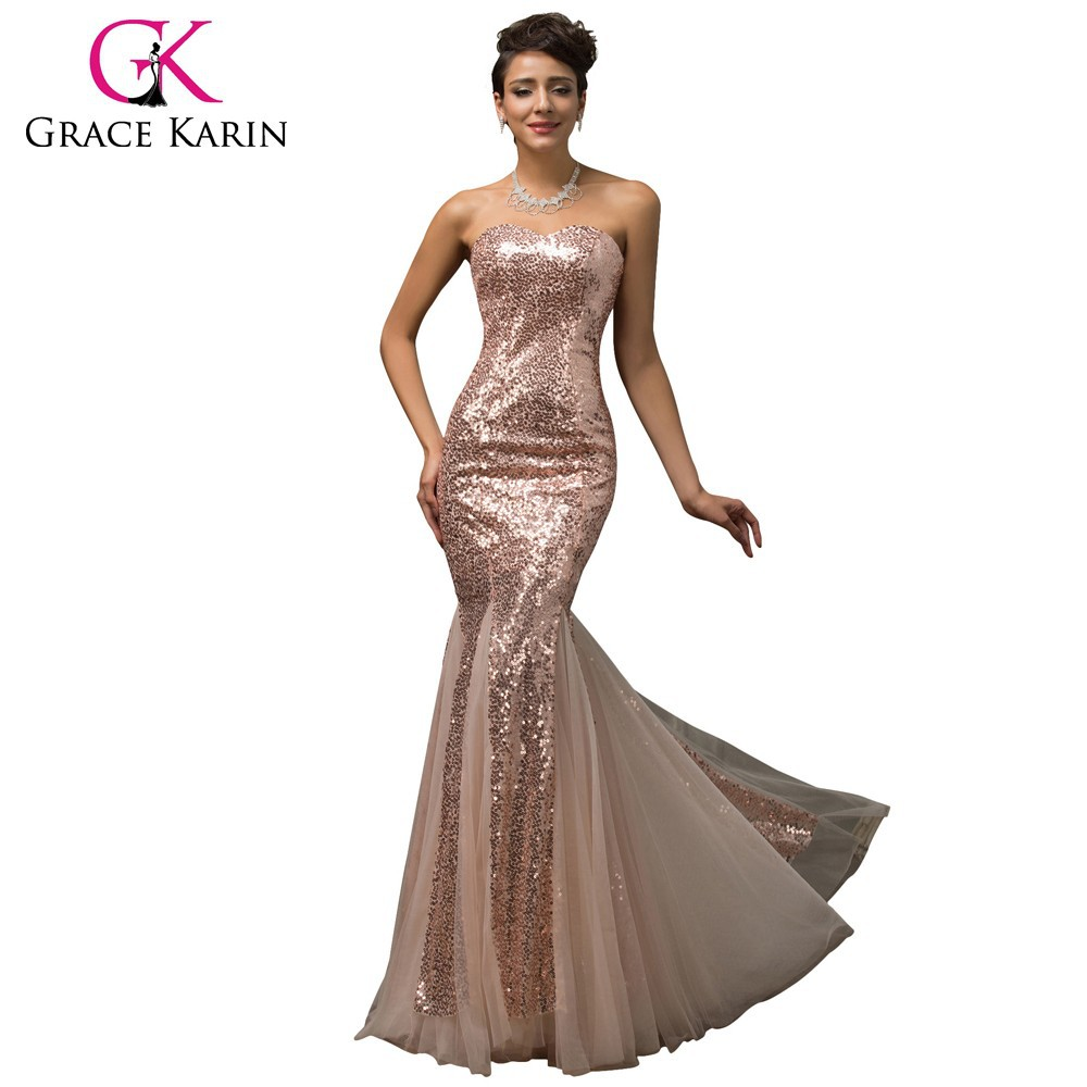 Grace Karin Deep V-Neck Skin Pink Long Party Mermaid Sequins Prom Dress CL007556-1