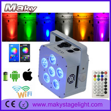 MAKY MQ-G119A rechargeable wifi phone app control led battery powered wireless dmx color changing led par light