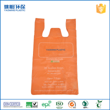 Recyclable orrange cheap t-shirt plastic bag wholesale