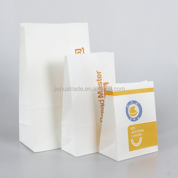 2017 Fashional New Design White Kraft Paper Food Packaging Take Away Fast Food Paper Bag