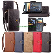 New Arrival Business Retro Pu Stand Leather Flip Wallet Case For iPhone X