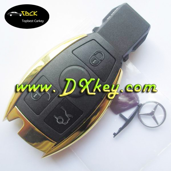 Golden Color 3 button car key shell for mercedes benz key for mercedes key