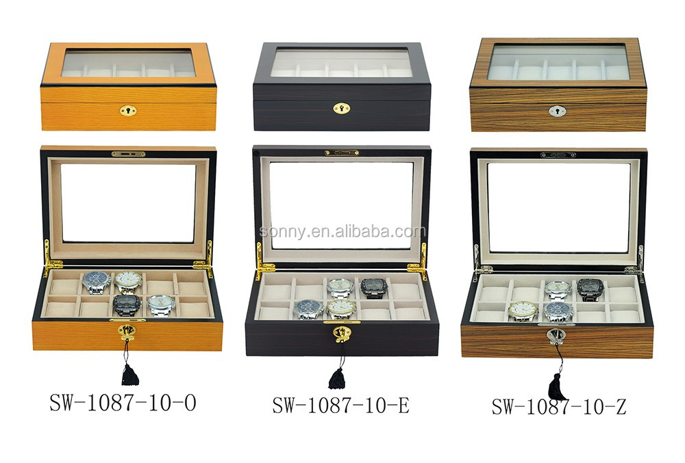 10 Grids Ginkgo Veneer Inlaid Wooden Watch Storage Box