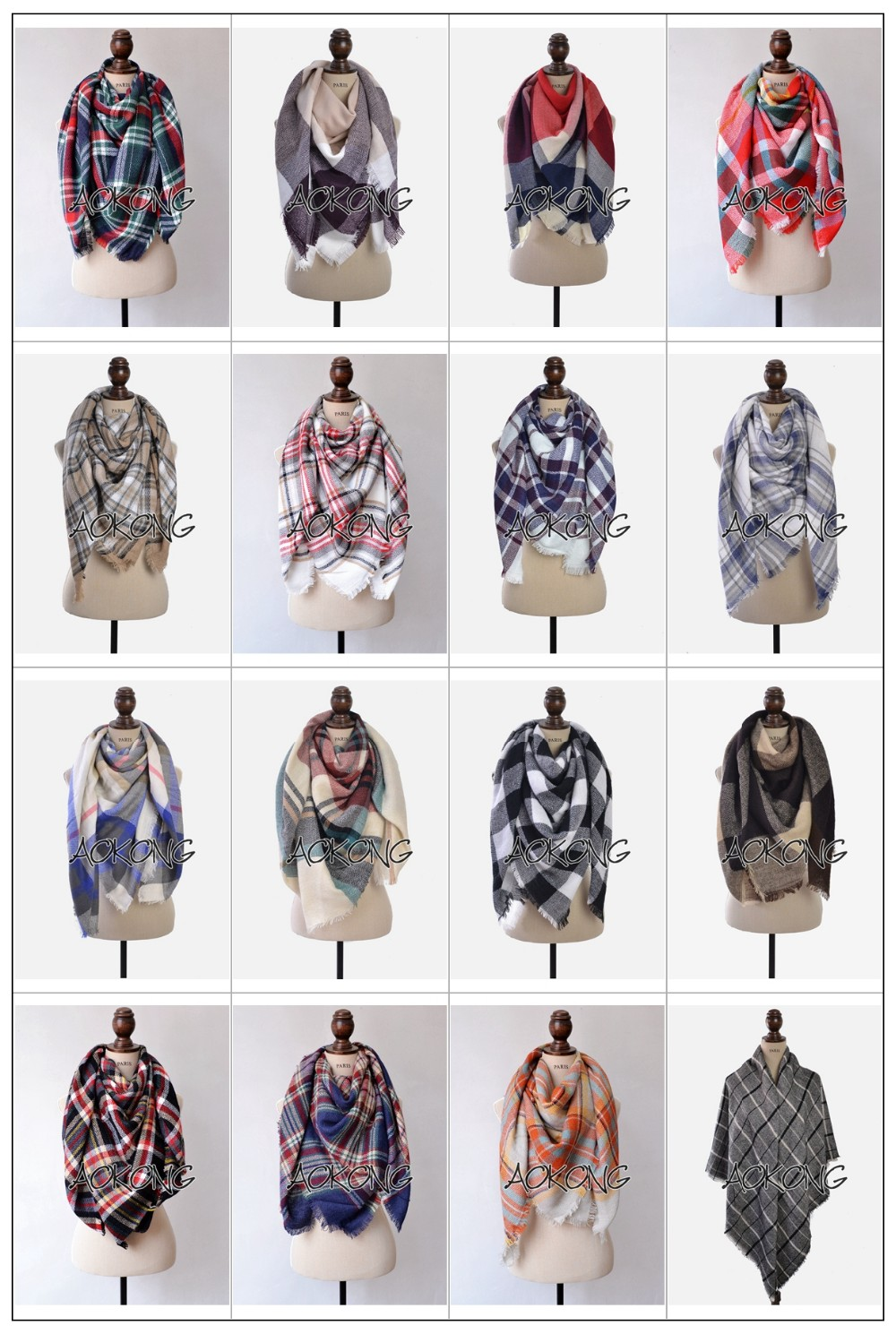2017 stock square large oversize winter cape tartan plaid blanket scarf
