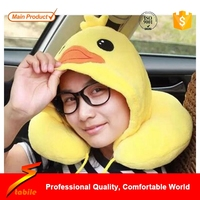 STABILE New style cute girl u shape travel pillow with hat cheap personalized cartoon hooded travel pillow