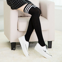 Women Girls Winter Warm Stripes Thigh High Over Knees Stockings Long Tights Socks