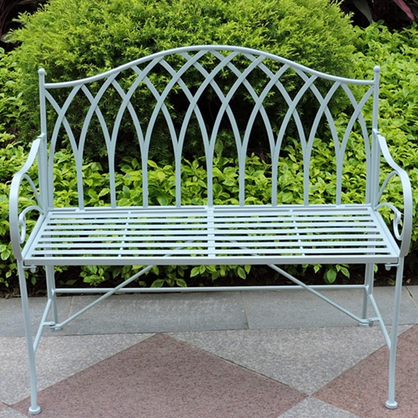 Gothic vintage outdoor foldable iron garden bench buy for Metal benches for outdoors