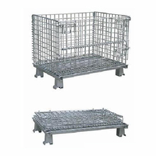 Equipment metal folding pallet container steel wire storage cage