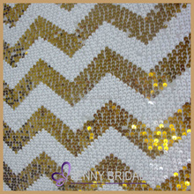 SQN#41 white and gold chervon beaded hotel glitter table cloth 36X36
