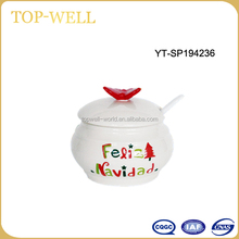 Hot soup restaurant ceramic soup jar bowl with spoon