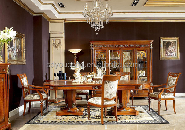 0029 high quality antique wooden dining table classic for Salle a manger classique