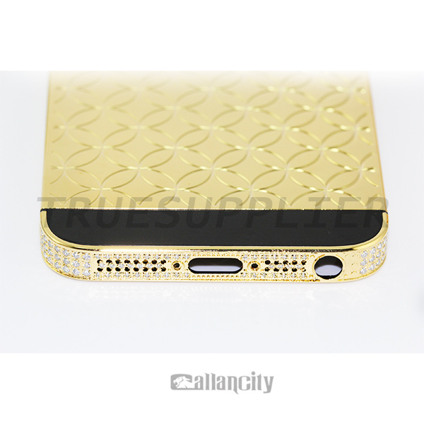 for iphone 5 24k gold housing inlaid diamond,high quality&low price can be customized
