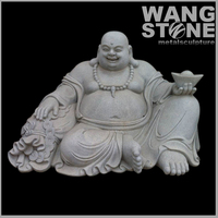 White Stone Carved Large Laughing Buddha Garden Statues For Sale
