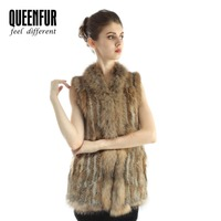 QUEENFUR Real Knitted Rabbit and Raccoon Fur Sleeveless Vest