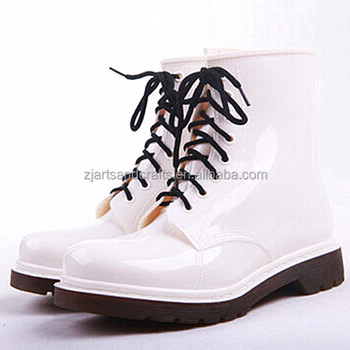 White soft lace-up ankle pvc rain boot rain shoe martin boot