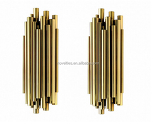 Gleaming Wall Lights Welded Together Gold Plating Tube Wall Sconce for Indoor