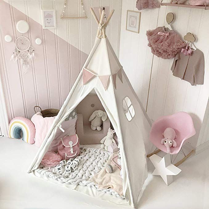 Tiny Land Kids Teepee <strong>Tent</strong> Children Play <strong>Tent</strong> for Indoor Outdoor White Canvas Teepee