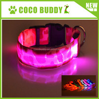 Remote control led flashing dog collar with camouflage printing polyester optical fiber on sale