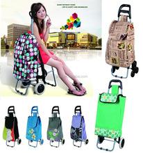 wheeled shopping bags trolley cart with chairs for supermarket, outdoor and leisure