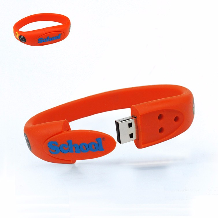 New fashion customize wristband usb 2.0 pendrive cheap usb bracelet with logo printing