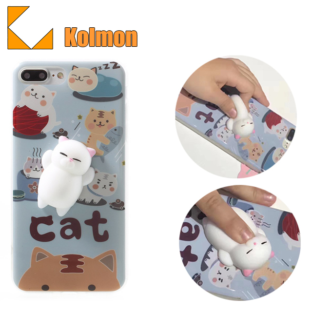 Finger Pinch Cute TPU Protective Kneading 3D Soft Silicone Squishy Cat Phone Case Cover For Iphone 8