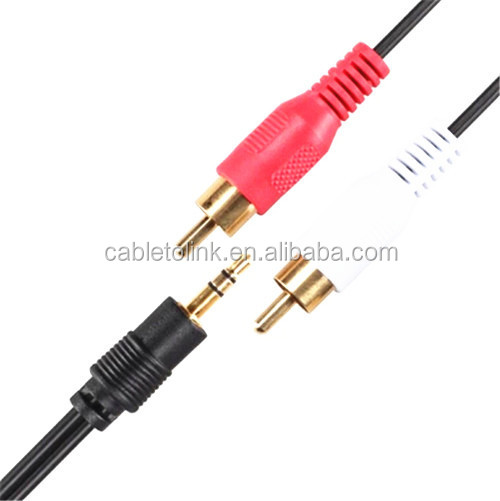 Metal 3.5mm Stereo Jack to 2 RCA Phono Plugs Cable Gold 1.8m gold plated