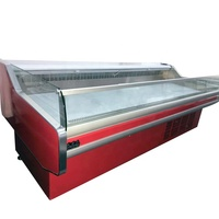 supermarket butchey shop fresh meat display fridge serve over retail counter for sale