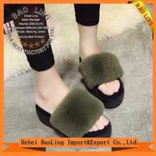 Fox Fur Slippers Indoor/Outdoor Flat Shoes Fashion Open Toe Soft Bottom Pantofole