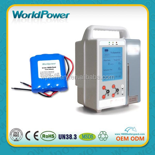 Worldpower 14.8V 2200mAh medical equipment infusion pump lithium ion battery
