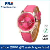 Pink cute lady hand watch,leather strap quartz watch,wholesale lady watch