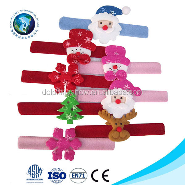 Kids Christmas Wristband Santa Claus Snowman Slap Bracelet Brain Circle Christmas Decor