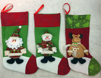 Fleece Animal Head Santa Claus Christmas Stocking creative lovely christmas gift stocking with Reindeer Santa Claus and Snowman