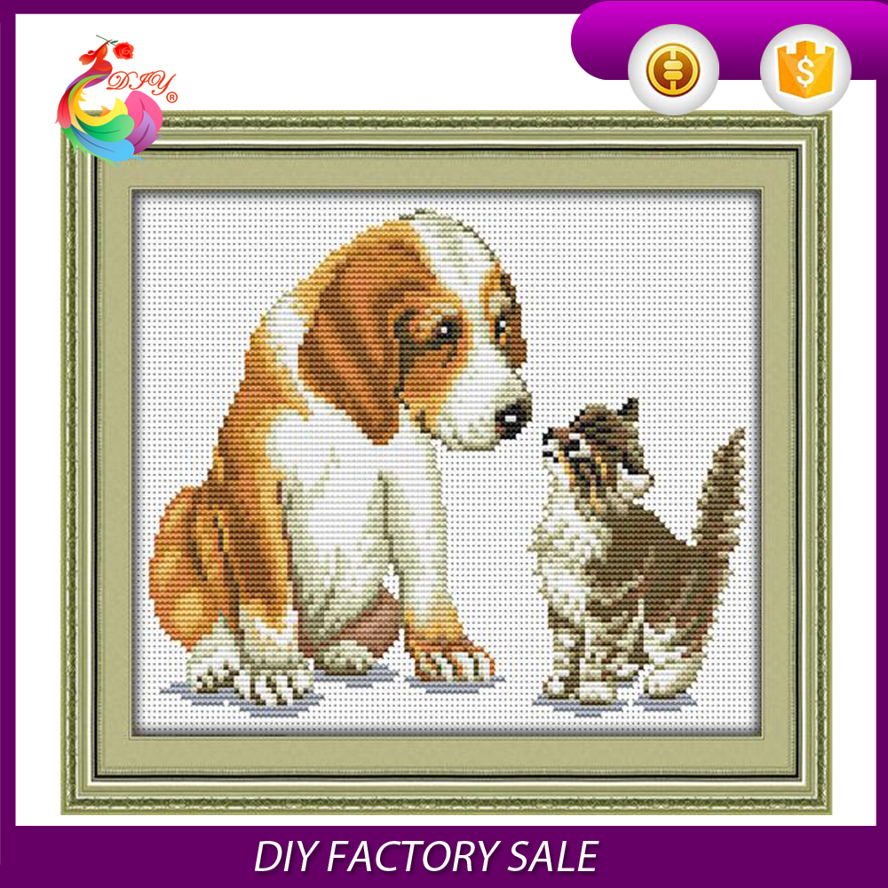 "wholesale DIY cross stitch kits ""The dog and cat to play"" for wall decoration"