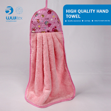 Compressed custom print microfiber hand towel with hook