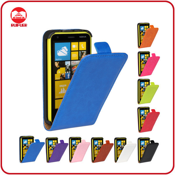 China Factory Wholesale High Quality Magnetic Vertical Flip Premium Leather Back Cover Case for Nokia Lumia 620